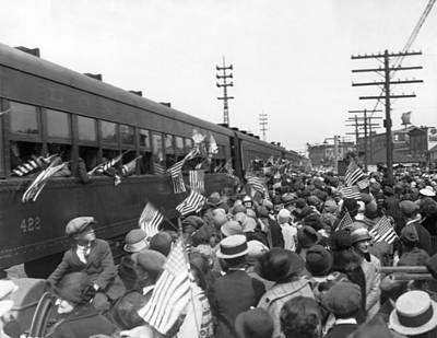 Crowds Cheer Ny Train Service Print by Underwood Archives