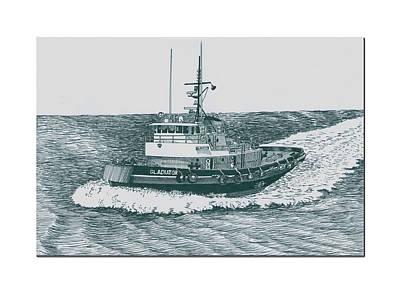Seattle Drawing - Crowley Tugboat Ocean Going Gladiator by Jack Pumphrey