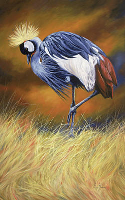 Crane Painting - Crowned by Lucie Bilodeau