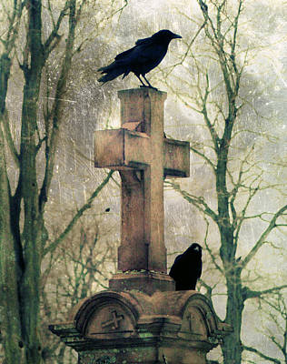 Starlings Digital Art - Urban Graveyard Crows by Gothicrow Images