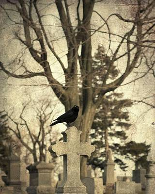 Birds In Graveyard Photograph - Crow's Cross by Gothicolors Donna Snyder