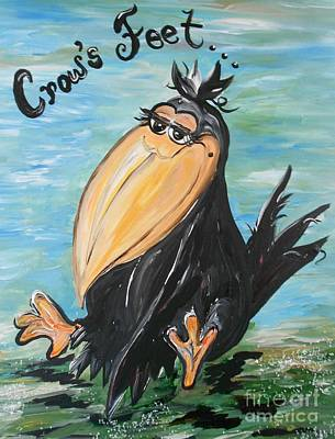 Crow Painting - Just Crow's Feet ... Not Wrinkles by Eloise Schneider
