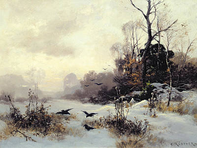 Snow Painting - Crows In A Winter Landscape by Karl Kustner