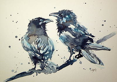 Crow Painting - Crows by Kovacs Anna Brigitta