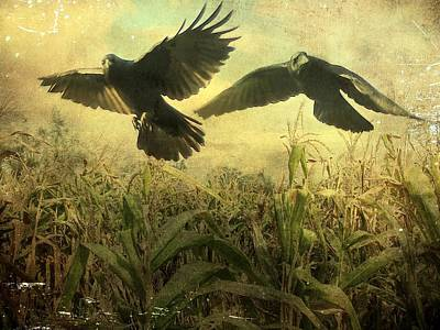 Crows Of The Corn 2 Print by Gothicolors Donna Snyder