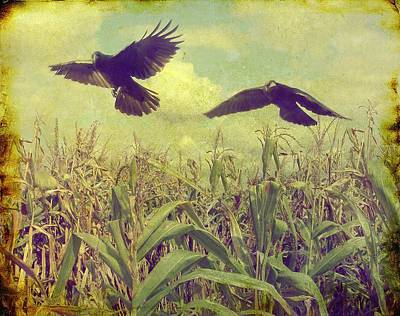 Cornfield Digital Art - Crows Of The Corn by Gothicolors Donna Snyder