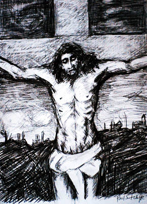 Christ Drawing - Crucifixion by Paul Sutcliffe
