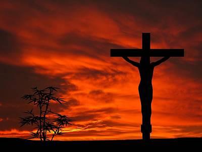 Jesus Christ Digital Art - Crucifixion Sunset Silhouette Series by David Dehner