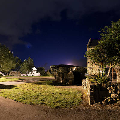 Megalith Photograph - Crucuno Dolmen At Night by Laurent Laveder