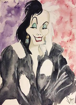 Cruella In Yves Saint Laurent Polka Dot Fur Coat Print by Sabina Mollot
