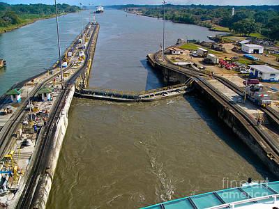 Men Photograph - Cruise Ship Passes Through Gatun Locks Panama Canal by Amy Cicconi