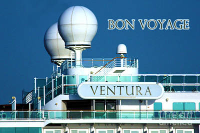Cruise Ship Ventura's Radar Domes Print by Terri Waters