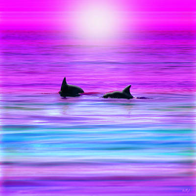 Dolphin Digital Art - Cruisin' Together by Holly Kempe