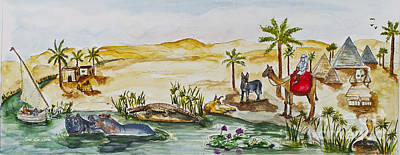 Papyrus Painting - Cruising Along The Nile by Janis Lee Colon