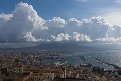 Cruising Into The Port Of Naples Italy Print by Georgia Mizuleva