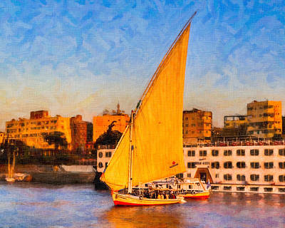 Sailing Photograph - Cruising The Nile At Sunset In Aswan Egypt by Mark E Tisdale