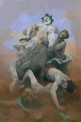 Nude Painting - Crumbling Pyramid by Steve Mitchell