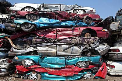 Scrap Metal Yard Photograph - Crushed Cars At Scrapyard by Jim West
