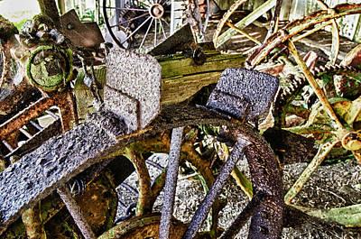 Crusty Rusty Tractor Wheels Print by Robert Rus