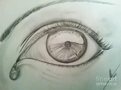 Tear Drawing - Crying Eye by Collin A Clarke