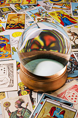Seeing Photograph - Crystal Ball And Tarot Cards by Garry Gay
