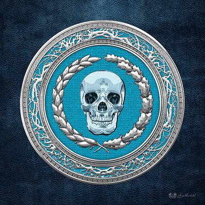 Crystal Human Skull On Blue Original by Serge Averbukh
