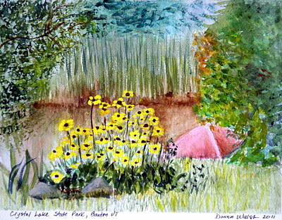 Plein Air Painting - Crystal Lake Park Barton Vt by Donna Walsh