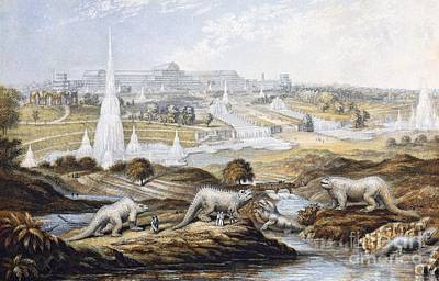 Fossil Reconstruction Photograph - Crystal Palace Dinosaurs By Baxter, 1854 by Paul D. Stewart