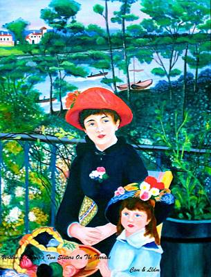 Csm And Lldm Version Of Renoir's Two Sisters On The Terrace Print by Lorna Maza