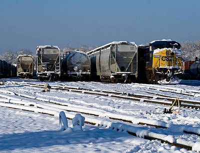 Train In The Winter Photograph - Csx In The Snow by Joseph C Hinson Photography