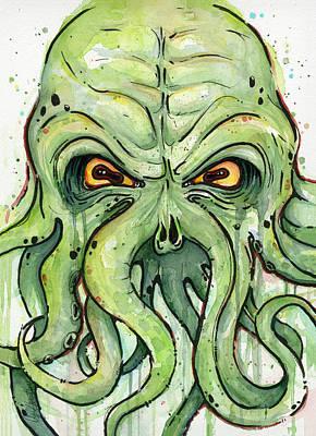 Horror Mixed Media - Cthulhu Watercolor by Olga Shvartsur