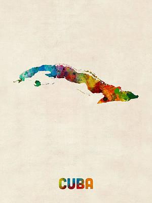 Latin Digital Art - Cuba Watercolor Map by Michael Tompsett