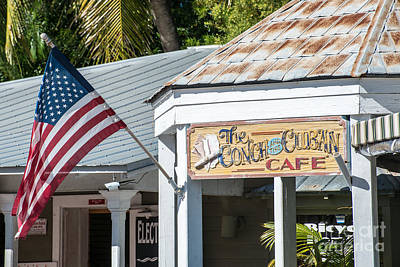 Old Glory Photograph - Cuban Cafe And American Flag Key West by Ian Monk