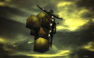 Cross Digital Art Digital Art - Cube Cross by Ramon Martinez