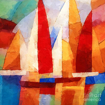 Abstract Seascape Mixed Media - Cubic Maritime by Lutz Baar