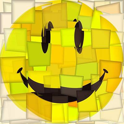 Lol Digital Art - Cubism Smiley Face by Dan Sproul