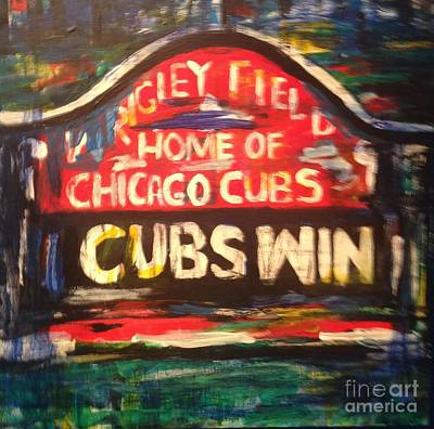Wrigley Field Painting - Cubs Win by Monica Zanetti