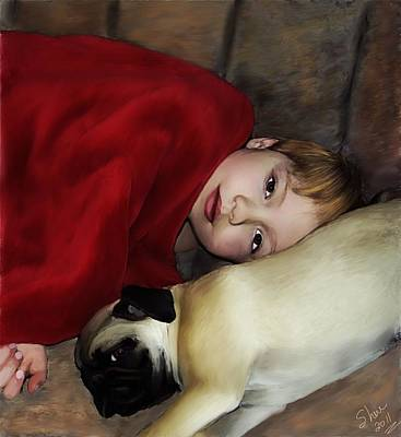 Fawn Pug Painting - Cuddle Time by Shere Crossman