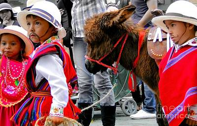 Baby Donkey Photograph - Cuenca Kids 374 by Al Bourassa