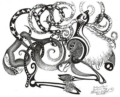 Scythian Drawing - Cultural Zoo 1 Scythian Stag by Melinda Dare Benfield