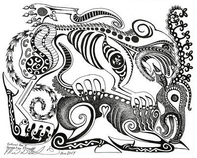 Iraq Drawing - Cultural Zoo 4 Sarmatian Struggle by Melinda Dare Benfield