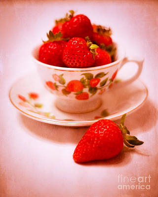 Cup Of Strawberries Print by Sonja Quintero