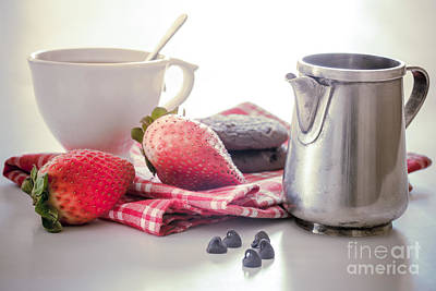 Photograph - Cup Of Tea With Strawberries by Sviatlana Kandybovich