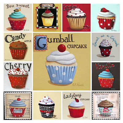 Cupcake Collage Print by Catherine Holman