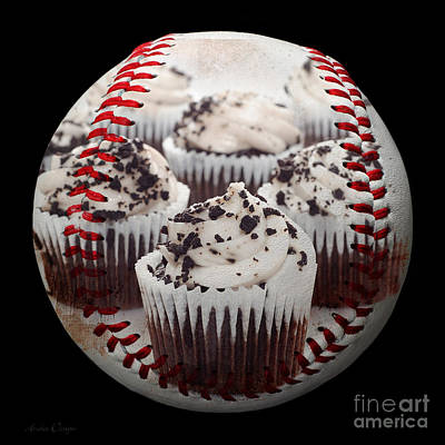 Cupcake Cuties Baseball Square Print by Andee Design