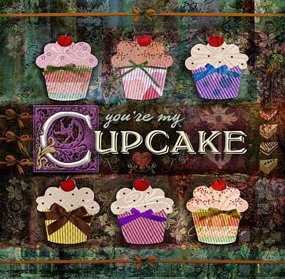 Strawberries Digital Art - Cupcake by Evie Cook