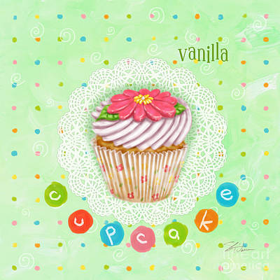 Peach Mixed Media - Cupcake-vanilla by Shari Warren