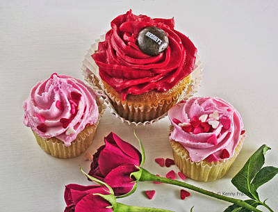 Cupcakes And Roses Print by Kenny Francis