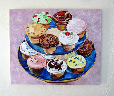 Cookbook Painting - Cupcakes by Marianne Clancy