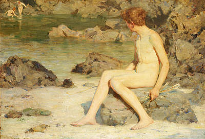 Sea Nymph Painting - Cupid And Sea Nymphs by Henry Scott Tuke